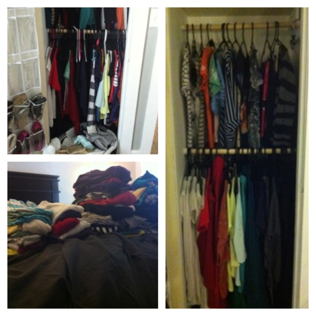 Top left; My overflowing mess of a closet. Bottom left: The clothes I donated. Right: Afterwards.