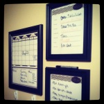 """An idea I found for an """"organization center"""" with a Calendar, daily meals and to-dos that keeps our family on top of it."""